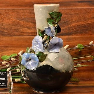 Rookwood Pottery 1882 Gray Black Bottle Vase with Applied Morning