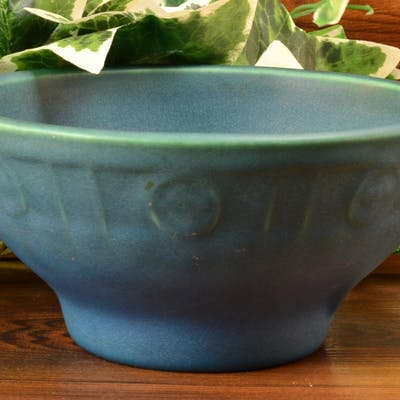 Rookwood Pottery Bowl, Blue Green Arts and Crafts Footed Bowl (Shape