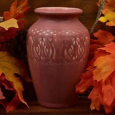 Rookwood Pottery 1928 Mat Pink Rose Incised Floral Band Arts and Crafts
