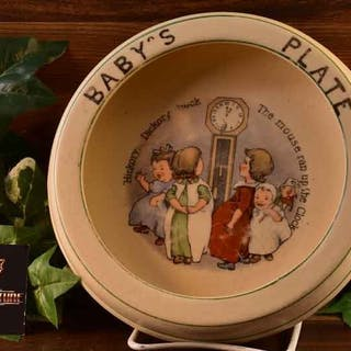 Roseville Pottery 1912 Nursery Rhyme Hickory Dickory Baby's Plate