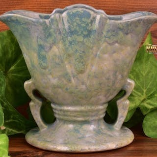 Roseville Pottery 1915-31 Carnelian II Blue Green Mottled Short Fan Vase #351-5