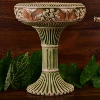 Roseville Pottery 1915 Donatello Tall Compote #232 Wafer