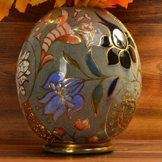 1890's Cincinnati Art Pottery William Dell Hungarian Faience Egg