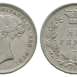 English Milled Coins - Victoria - 1886 - Sixpence – Current