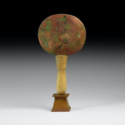 Egyptian Bronze Mirror with Ivory Handle