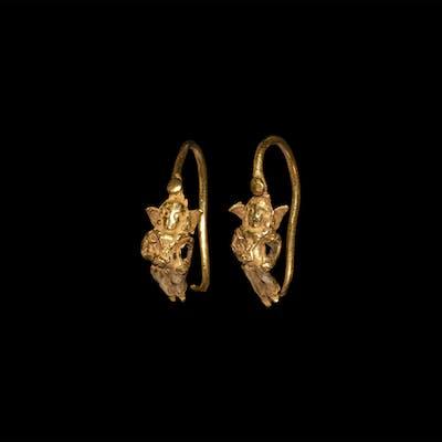 Greek Gold Astarte Earrings