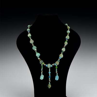 Romano-Egyptian Faience Bead Necklace with Amulets