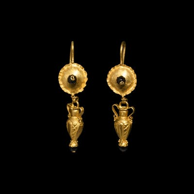 Roman Gold Earrings with Amphora Drops