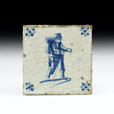 Post Medieval Dutch Tile with Tradesman