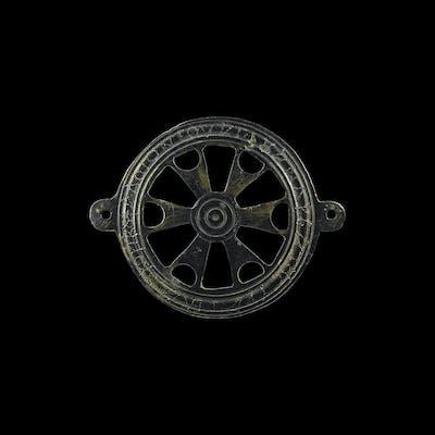 Roman Inscribed Wheel Horse Harness Mount