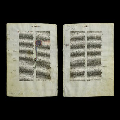Medieval French Bible Manuscript Leaf with Illuminated Capital