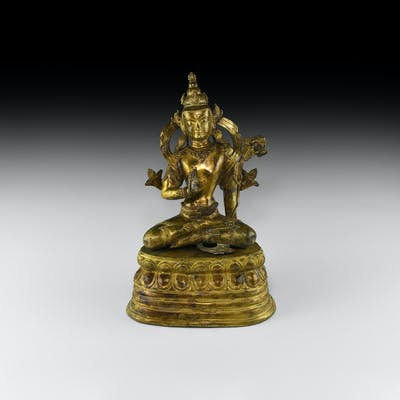 Large Nepalese Gilt Sitting Buddha Figure