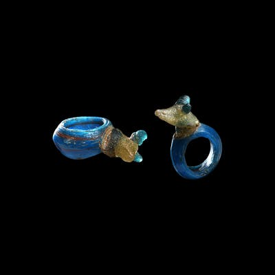 Romano-Egyptian Glass Ring with Head of Anubis