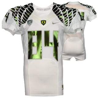 Oregon Ducks Game-Used #84 White and Silver Football Jersey from the