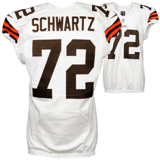 Mitchell Schwartz Cleveland Browns Game Used White #72 Jersey from