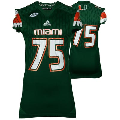 Miami Hurricanes Game-Used Green #75 Adidas Football Jersey Used Between