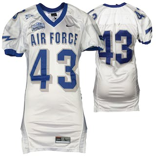 """Air Force Falcons Game-Used #43 White Football Jersey with """"NCAA"""""""