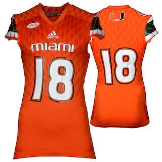 Miami Hurricanes Game-Used Orange #18 Adidas Football Jersey Used
