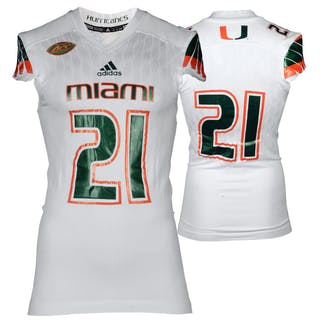 Miami Hurricanes Game-Used White #21 Adidas Football Jersey Used Between