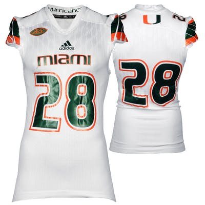 brand new c8a80 4cf19 Miami Hurricanes Game-Used White #28 Adidas Football Jersey ...