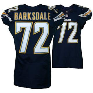 Joe Barksdale San Diego Chargers Game-Used #72 Blue Jersey vs. Kansas