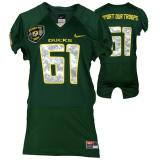 """Oregon Ducks Team-Issued #61 Forest Green and Digital Camouflage """"Support"""