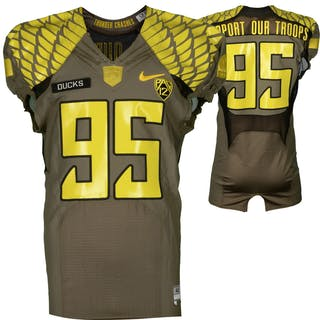 """Oregon Ducks Team-Issued #95 Olive Green """"Support Our Troops"""" Jersey"""