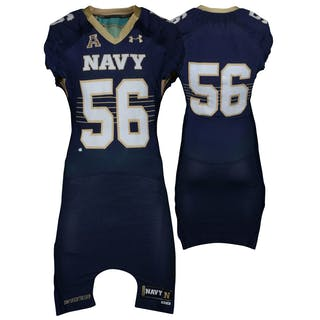 Navy Midshipmen Game-Used #56 Navy Jersey with AAC Patch from the