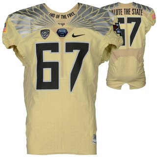 """Oregon Ducks Team-Issued #67 Tan """"Salute The State"""" Jersey from 2015"""
