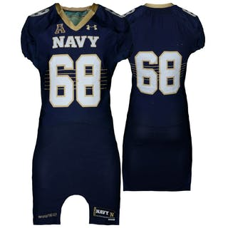 Navy Midshipmen Game-Used #68 Navy Jersey with AAC Patch from the