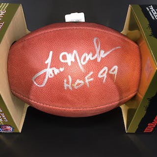 HOF - Rams Tom Mack Signed Authentic Football