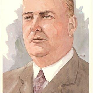 1980-02 Perez-Steele Hall of Fame Postcards #7 Ban Johnson -- HOF Class of 1937