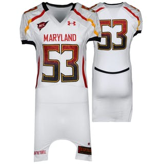 """Maryland Terrapins Team-Issued """"Shell"""" #53 White Jersey with ACC Patch"""