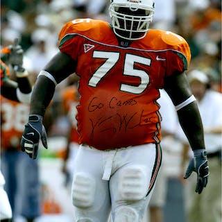 "Vince Wilfork Miami Hurricanes Autographed 16"" x 20"" Orange Jersey"