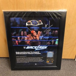 Becky Lynch SIGNED BackLash 2016 Signature Series Ring Canvas Plaque (#1 of 10)