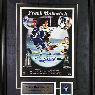 Frank Mahovlich Autographed Toronto Maple Leafs Framed 8X10 Photo