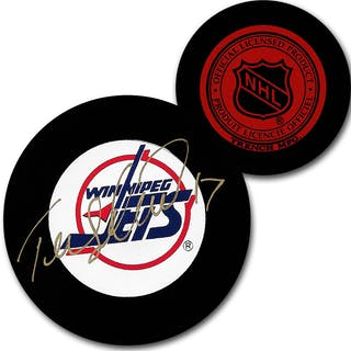 Teemu Selanne Autographed Winnipeg Jets Vintage Trench Puck