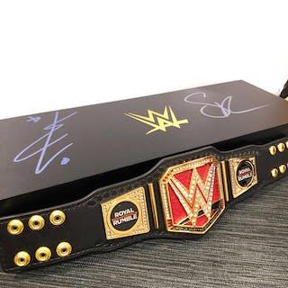 Becky Lynch & Seth Rollins SIGNED Royal Rumble Mini Championship Title Box