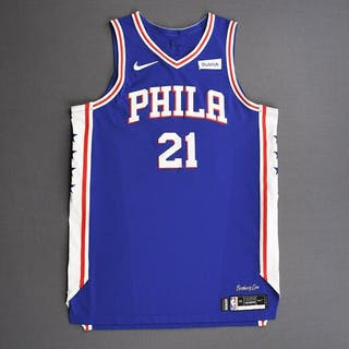 Joel Embiid - Philadelphia 76ers - 2019 NBA Playoffs - Game-Worn Blue