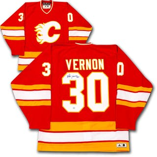 Mike Vernon Autographed Calgary Flames adidas Team Classics Authentic