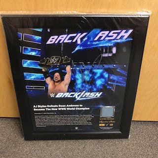 AJ Styles SIGNED BackLash 2016 Signature Series Ring Canvas Plaque (#7 of 10)