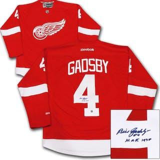 Bill Gadsby (deceased) Autographed Detroit Red Wings Jersey w/HOF