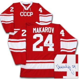 Sergei Makarov Autographed Soviet National Team CCCP Jersey