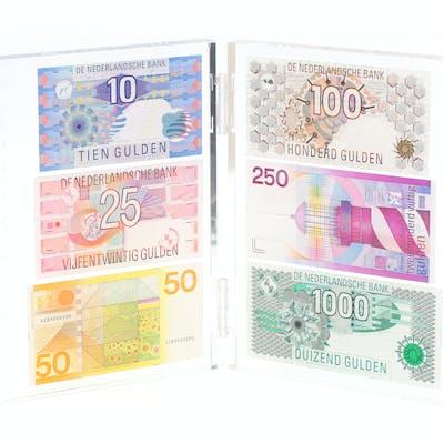 A perspex diptych with Dutch banknotes, De Nederlandsche Bank NV