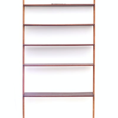 A teak modular wall unit/bookcase, produced by Scanflex, 1950s, not complete.