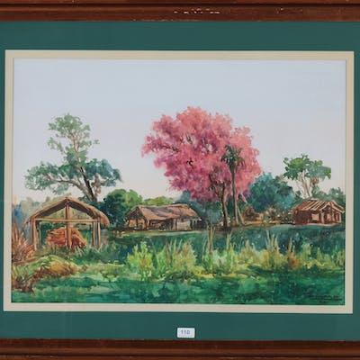 Landschap met bloeiende boom. Gesigneerd en gedateerd '88 r.o.