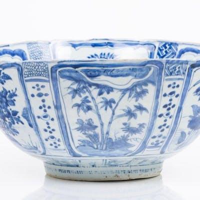 Chinese export porcelain Blue underglaze floral and bird...