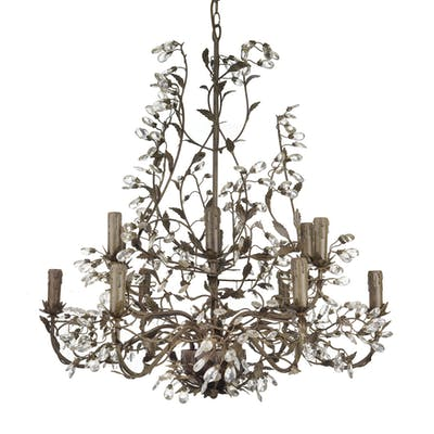 A DARK PATINA METAL CHANDELIER AS LAMP, 20TH CENTURY; WEAR, SOME DAMAGES