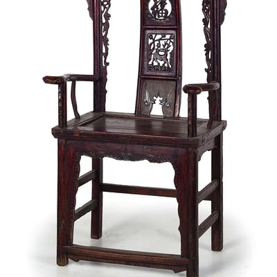 A PAIR OF WOOD ARMCHAIRS, CHINA, 19TH-20TH CENTURY; WEAR, DAMAGES