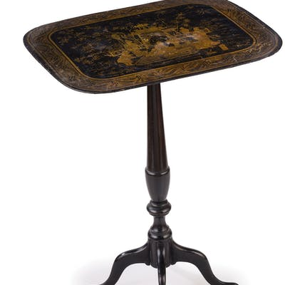 A PAIR OF SMALL LACQUERED WOOD TABLES, 19TH CENTURY, TOGETHER WITH